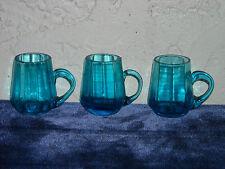 Set of 3 Blue Glass Children's Toy Mugs