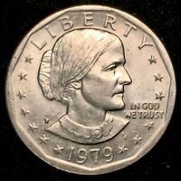 RARE WIDE RIM NEAR DATE 1979-P Susan B Anthony Dollar AU