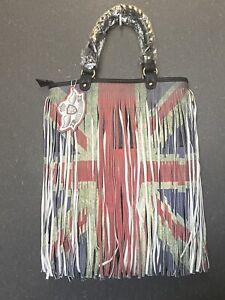 Ladies Black Handbag With Union Jack Tassels. Ladies Handbags. Ladies Tote Bag