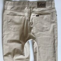 MENS LEE BROOKLYN STRAIGHT LEG BEIGE JEANS W34 L30 (385)