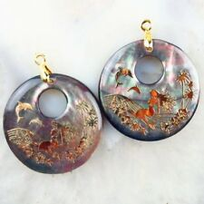 2Pcs 30x3mm Abalone Shell Hand-painted Mermaid Round Pendant Bead X18132