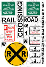 SCALELIKE INDUSTRIES G-RAILROAD X SIGNS 1 (GXS-1) PRINTED ON PLASTIC FACTORY NEW