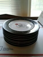 POTTERY BARN RETRO BAR SET OF (8) SALAD/APPETIZER PLATES 8 1/4""