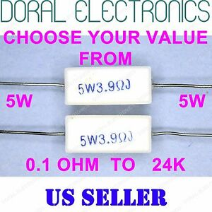 2 pcs 5W from 0.1 OHM to 24K 5% Ceramic Cement Power Resistor 5 W 5WATT WATT