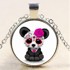 New Cabochon Glass Silver/Bronze/Black Pendant Necklace(Sugar Skull Panda