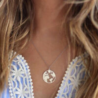 World Map Pendant Necklace Women Silver Gold Globe Earth Chain Jewelry Gifts