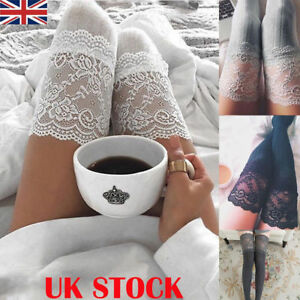 UK Women Sexy Lace Trim Thigh High OVER the KNEE Socks Long Cotton Warm Stocking