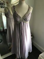Monsoon Lilac Silk Hand Beaded Dress Size 10 BNWOT