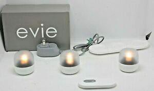 GLASSYBABY 'EVIE'~3 RECHARGEABLE TEA LIGHTS w/REMOTE CONT * ORIG BOX-USED ONCE