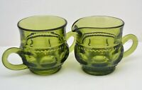 INDIANA GREEN GLASS KINGS CROWN THUMBPRINT SUGAR AND CREAMER SET