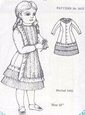 "12""Antique French Jumeau/Bru German Child Doll@1882 Apron-Shirred Dress Pattern"