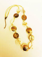 Vintage Boho Mother of Pearl Shell Metal Necklace Round Disc Rope Tied Long