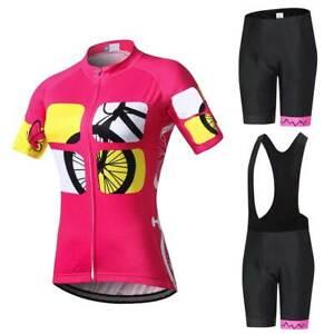 Damen Radsport Kleidung Kurzarm Fahrradtrikot Radshorts / Trägershorts Set Rosig