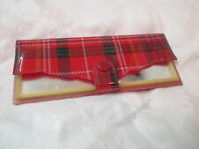 Vintage Child's Toy Compact Mirror red & black Plaid