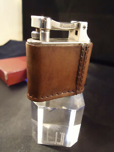 Dunhill Unique STANDARD Petrol Lighter - Football Leather & Silver Plated - Box