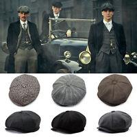 Men Flat Hat Herringbone Newsboy Cap Driving Cabbie Peaky Blinders Baker Boy Hat