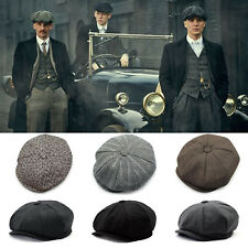 Men Tweed Herringbone Cabbie Newsboy Gatsby Cap Flat lvy Hat Golf Driving Beret