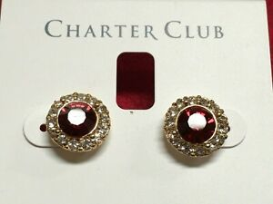"Charter Club Red White Flower Crystal Gold Plated Earrings 1/2"" Macy's New CC4"