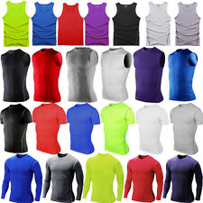 Mens Compression Under Base Layer T-Shirt Tops Gym Sport Fitness Tight Tank Vest