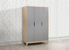 Birlea Kingston 3 Door Wardrobe Beech & Grey Scandia Modern Retro