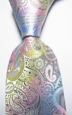 New Classic Paisley Grey Pink Blue JACQUARD WOVEN 100% Silk Men's Tie Necktie