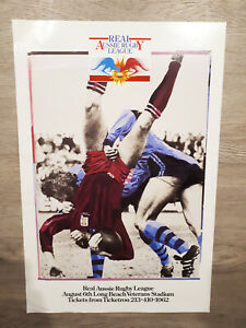Genuine USA 1987 NSWRL Rugby League State of Origin Game 4 Poster Long Beach Cal