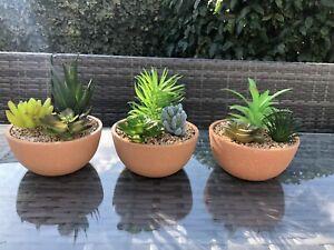 Set 3 Faux Potted Succulent Plants Pots Bathroom Kitchen Artificial Stone Garden