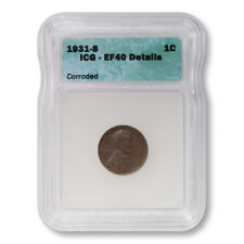 USA Lincoln Wheat Cent 1c 1931 S ICG EF40 Details Corroded Key Date Penny