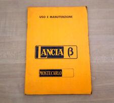 Lancia Beta Montecarlo Libretto Manuale Uso e Manutenzione 1975 ITA