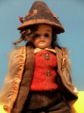 Antique Dollhouse Miniature German Bisque Boy Doll Glass Eyes Beautiful 1900's