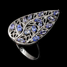 925 STERLING SILVER 1.20 CTW TANZANITE LEAF COCKTAIL RING SIZE R / 9