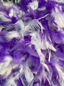 Purple & White Party Mardi Gras 5 ft Chandelle Feather Boa