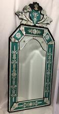 Vintage Antique Venetian Ornate Mirror Color Etching Floral Silver Green