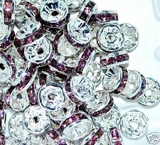 100pcs Clear White Rhinestone Rondelle Spacer Beads 8mm by 1st Class