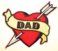 DAD Heart embroidered iron on patch tattoo Sailor Jerry rockabilly fathers  - 7