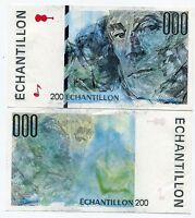 Specimen France Sample Echantillon 200 Unc Banknote Trial Test