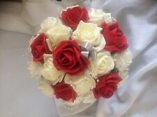Wedding Flowers Bridesmaid Large Ivory & Red   Posy Bouquet £19.99