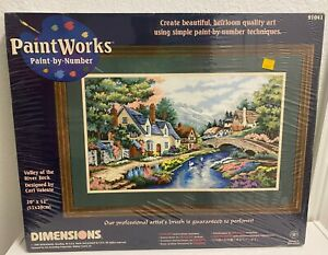 """Dimensions Paint by Number Valley of the River Beck 20"""" X 12"""" 1998 91041 SEALED"""