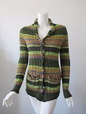 Urban Outfitters ECOTE Green Stripe Button Front Long Cardigan Sweater fits XS