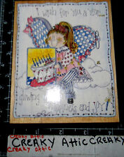I WISH FOR YOU A YEAR LITTLE GIRL RUBBER STAMPS HAPPEN RETIRED BIRTHDAY