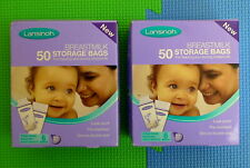 100 x Lansinoh Breastmilk Storage Bags (2 Boxes of 50) NEW & SEALED