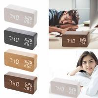 Wooden LED Temperature Humidity Alarm Clocks Voice Control Digital Clock