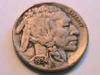 1934-D Buffalo Nickel Nice (F) Fine Grey Toned Original Indian Head 5 Cent Coin