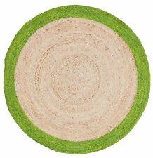 FF HAZEL ROUND RUG Circle Hand Woven Fabric Edge Natural Virgin JUTE 100cm GREEN