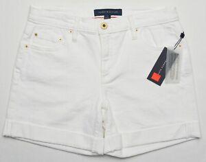 "Tommy Hilfiger #10975 NEW Women's White Stretch Cuffed Denim 5"" Shorts $59.50"