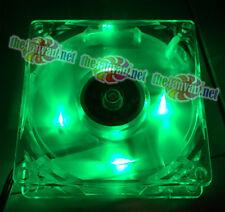 Evercool 80mm x 80mm x 25mm 3 Pin GREEN LED Fan includes 4 pin adapt and screws!