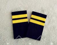 2 Bar Gold Airline Pilot Epaulets Captain Shoulder Board Insignia Slider Cosplay