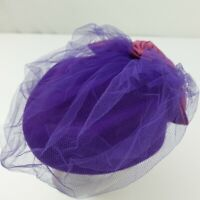Fedoria Lancaster 100% Wool Purple Women's Hat Flower Bow Net
