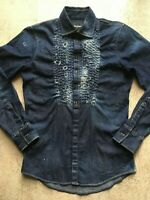 Very Nice! Dsquared2 Fall 2016 Denim with Stitches Tuxedo Shirt_Size 46