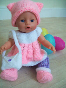 "KNITTING PATTERN Baby born Dolls Clothes Leggings Hat Bag Top DK 43cm 17""  BB002"